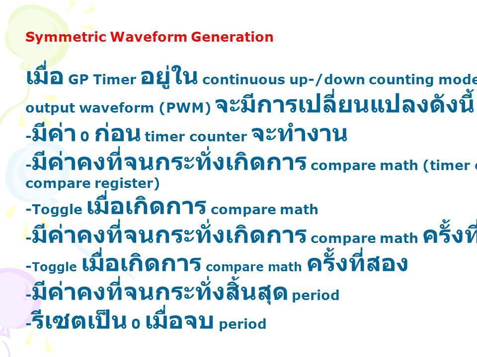 Symmetric Waveform Generation เมื่อ GP Timer อยู่ใน continuous up-/down counting mode. output waveform (PWM) จะมีการเปลี่ยนแปลงดังนี้ - มีค่า 0 ก่อน t
