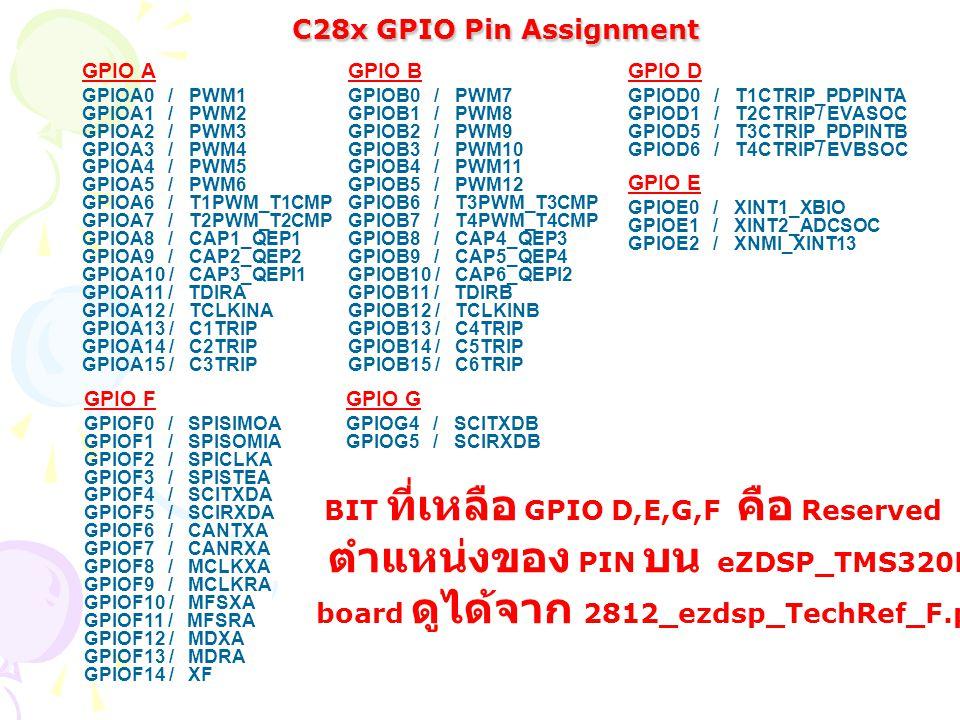 GPIO A GPIOA0 / PWM1 GPIOA1 / PWM2 GPIOA2 / PWM3 GPIOA3 / PWM4 GPIOA4 / PWM5 GPIOA5 / PWM6 GPIOA6 / T1PWM_T1CMP GPIOA7 / T2PWM_T2CMP GPIOA8 / CAP1_QEP