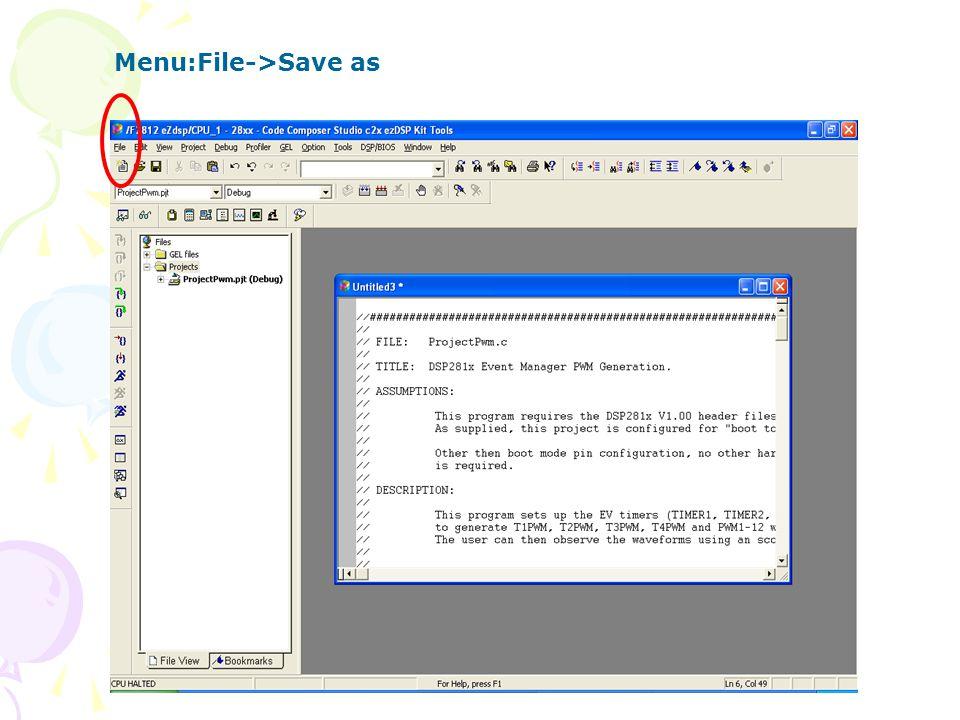 Menu:File->Save as
