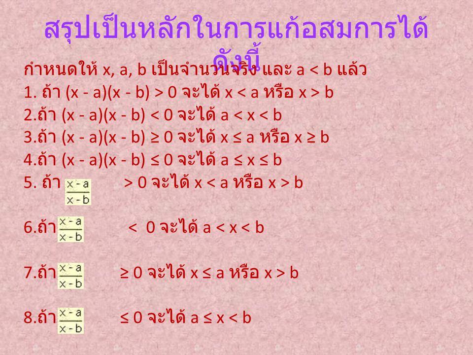 สรุปเป็นหลักในการแก้อสมการได้ ดังนี้ กำหนดให้ x, a, b เป็นจำนวนจริง และ a < b แล้ว 1. ถ้า (x - a)(x - b) > 0 จะได้ x b 2. ถ้า (x - a)(x - b) < 0 จะได้