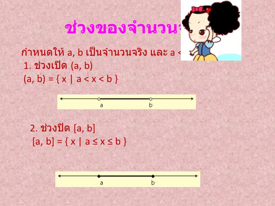 ช่วงของจำนวนจริง กำหนดให้ a, b เป็นจำนวนจริง และ a < b 1. ช่วงเปิด (a, b) (a, b) = { x | a < x < b } 2. ช่วงปิด [a, b] [a, b] = { x | a ≤ x ≤ b }