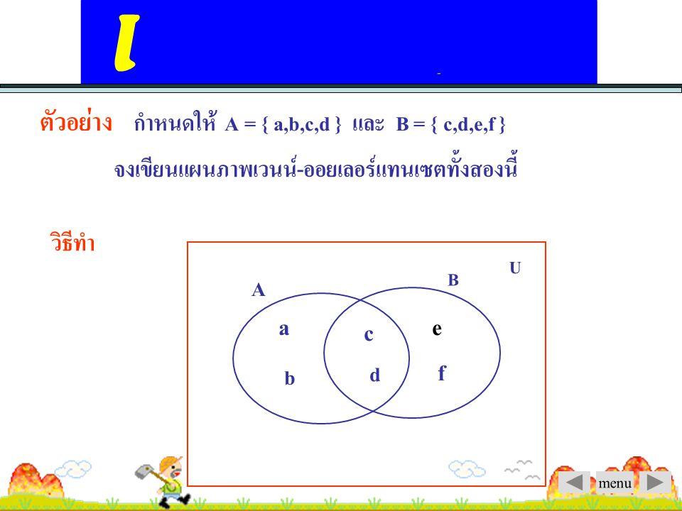 menu แผนภาพเวนน์-ออยเลอร์ (Venn-Euler Diagrams) U A B C A B U รูป 1 รูป 2 รูป 1 แสดงเซต A, B และ C ไม่มีสมาชิก ร่วมกัน และต่างเป็นสับเซตของ U รูป 2 แสดงว่า B A