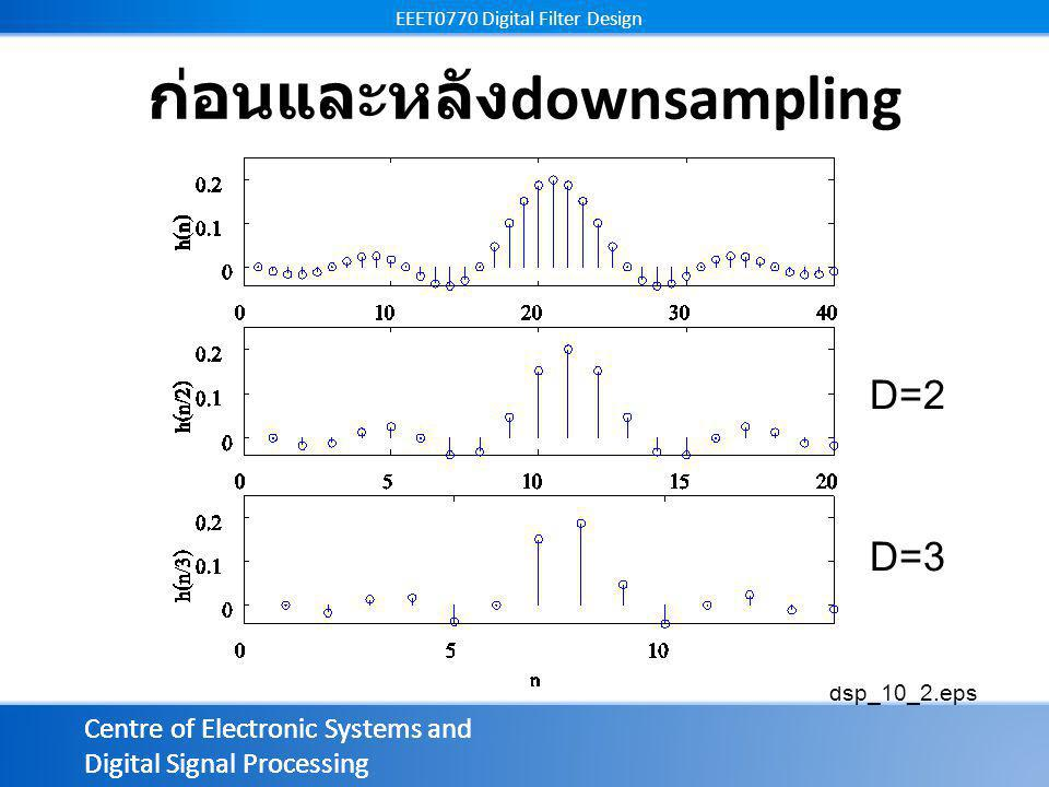 Centre of Electronic Systems and Digital Signal Processing EEET0770 Digital Filter Design Centre of Electronic Systems and Digital Signal Processing EEET0770 Digital Filter Design ก่อนและหลัง downsampling dsp_10_2.eps D=2 D=3