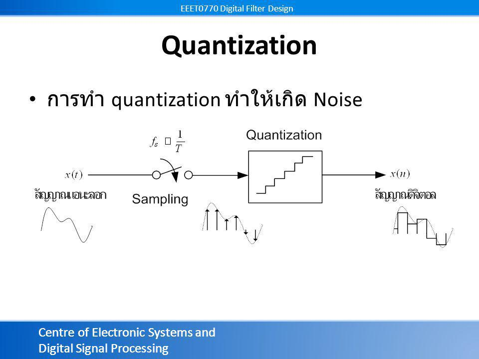 Centre of Electronic Systems and Digital Signal Processing EEET0770 Digital Filter Design Centre of Electronic Systems and Digital Signal Processing EEET0770 Digital Filter Design Quantization การทำ quantization ทำให้เกิด Noise