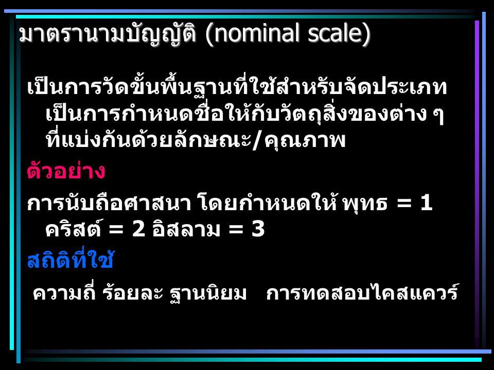 มาตราการวัด มาตรานามบัญญัติ (nominal scale) มาตราเรียงอันดับ (ordinal scale) มาตราอันตรภาค (interval scale) มาตราอัตราส่วน (ratio scale)