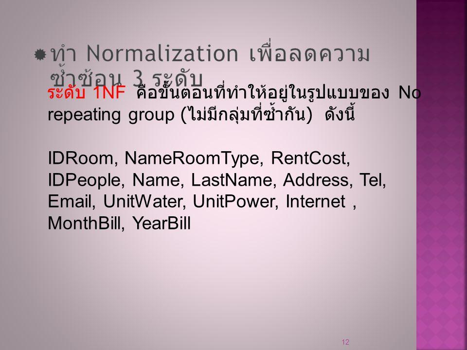 12 ระดับ 1NF คือขั้นตอนที่ทำให้อยู่ในรูปแบบของ No repeating group ( ไม่มีกลุ่มที่ซ้ำกัน ) ดังนี้ IDRoom, NameRoomType, RentCost, IDPeople, Name, LastN
