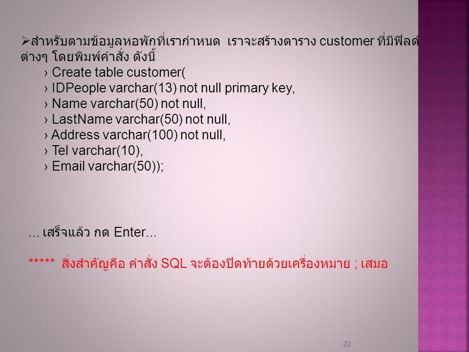 22  สำหรับตามข้อมูลหอพักที่เรากำหนด เราจะสร้างตาราง customer ที่มีฟิลด์ ต่างๆ โดยพิมพ์คำสั่ง ดังนี้ › Create table customer( › IDPeople varchar(13) n