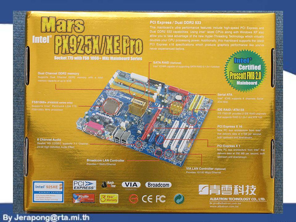 PCI BUS ทำหน้าที่ควบคุมการ ทำงานของอุปกรณ์ ที่ ติดตั้งอยู่บนสล็อต PCI