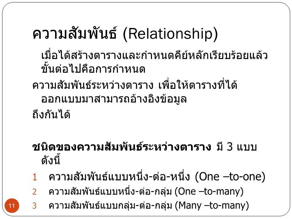 ความสัมพันธ์ (Relationship) เมื่อได้สร้างตารางและกำหนดคีย์หลักเรียบร้อยแล้ว ขั้นต่อไปคือการกำหนด ความสัมพันธ์ระหว่างตาราง เพื่อให้ตารางที่ได้ ออกแบบมา