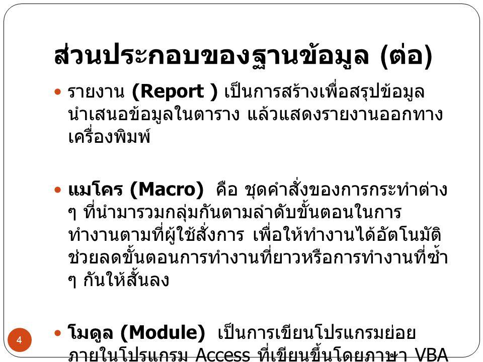 ส่วนประกอบของฐานข้อมูล ( ต่อ ) รายงาน (Report ) เป็นการสร้างเพื่อสรุปข้อมูล นำเสนอข้อมูลในตาราง แล้วแสดงรายงานออกทาง เครื่องพิมพ์ แมโคร (Macro) คือ ชุ