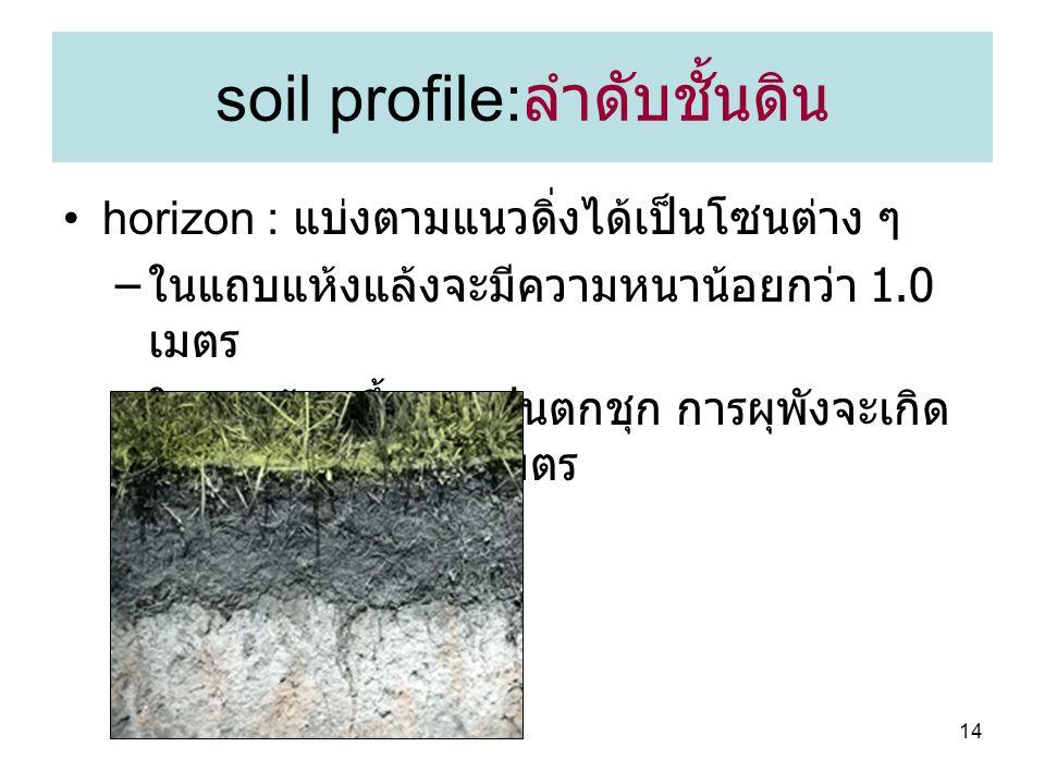 14 soil profile: ลำดับชั้นดิน horizon : แบ่งตามแนวดิ่งได้เป็นโซนต่าง ๆ – ในแถบแห้งแล้งจะมีความหนาน้อยกว่า 1.0 เมตร – ในแถบร้อนขึ้นและฝนตกชุก การผุพังจะเกิด ลึกลงไปกว่า 100 เมตร