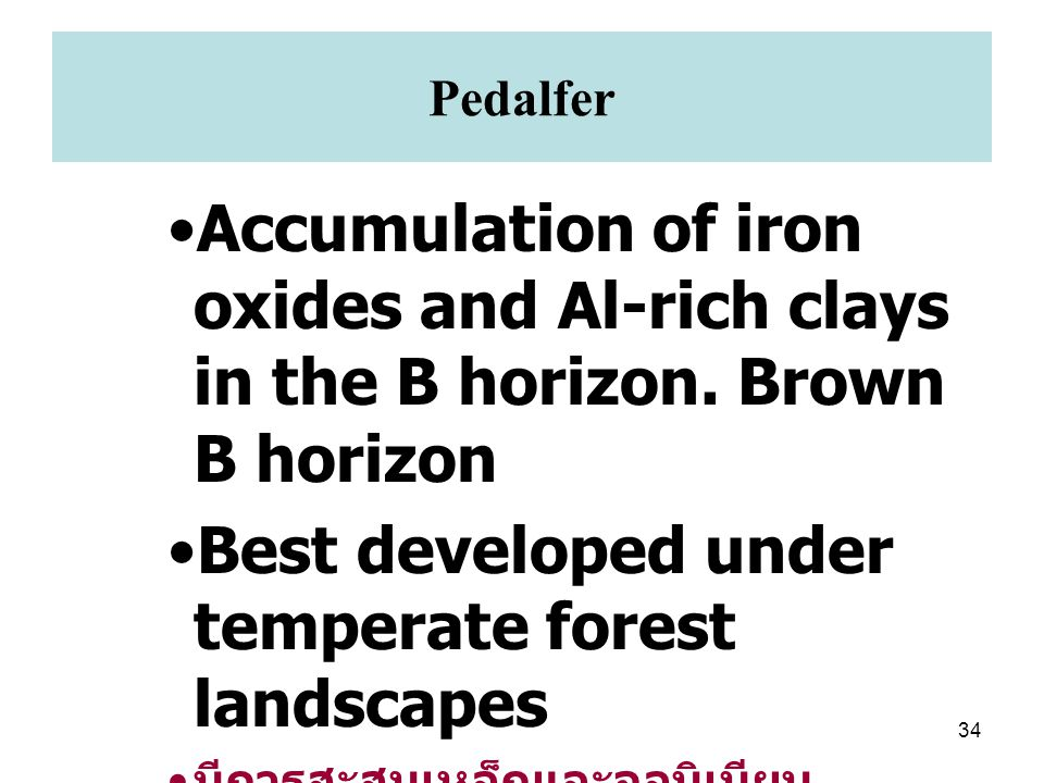 34 Pedalfer Accumulation of iron oxides and Al-rich clays in the B horizon. Brown B horizon Best developed under temperate forest landscapes มีการสะสม