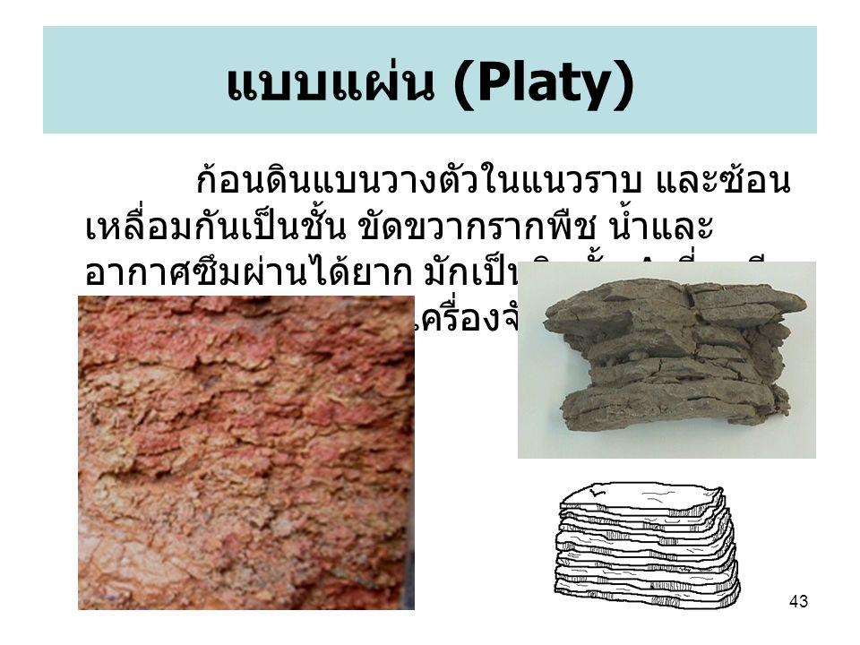43 แบบแผ่น (Platy) ก้อนดินแบนวางตัวในแนวราบ และซ้อน เหลื่อมกันเป็นชั้น ขัดขวากรากพืช น้ำและ อากาศซึมผ่านได้ยาก มักเป็นดินชั้น A ที่ถูกบีบ อัดจากการบดไถของเครื่องจักรกลการเกษตร