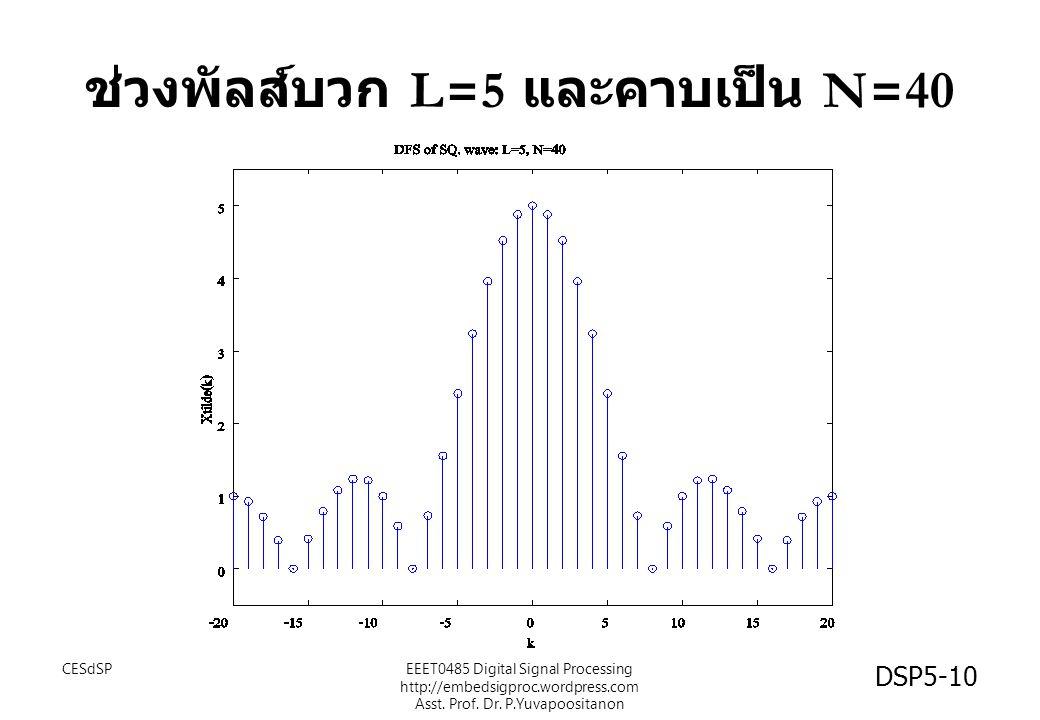 DSP5-10 ช่วงพัลส์บวก L=5 และคาบเป็น N=40 CESdSPEEET0485 Digital Signal Processing http://embedsigproc.wordpress.com Asst. Prof. Dr. P.Yuvapoositanon