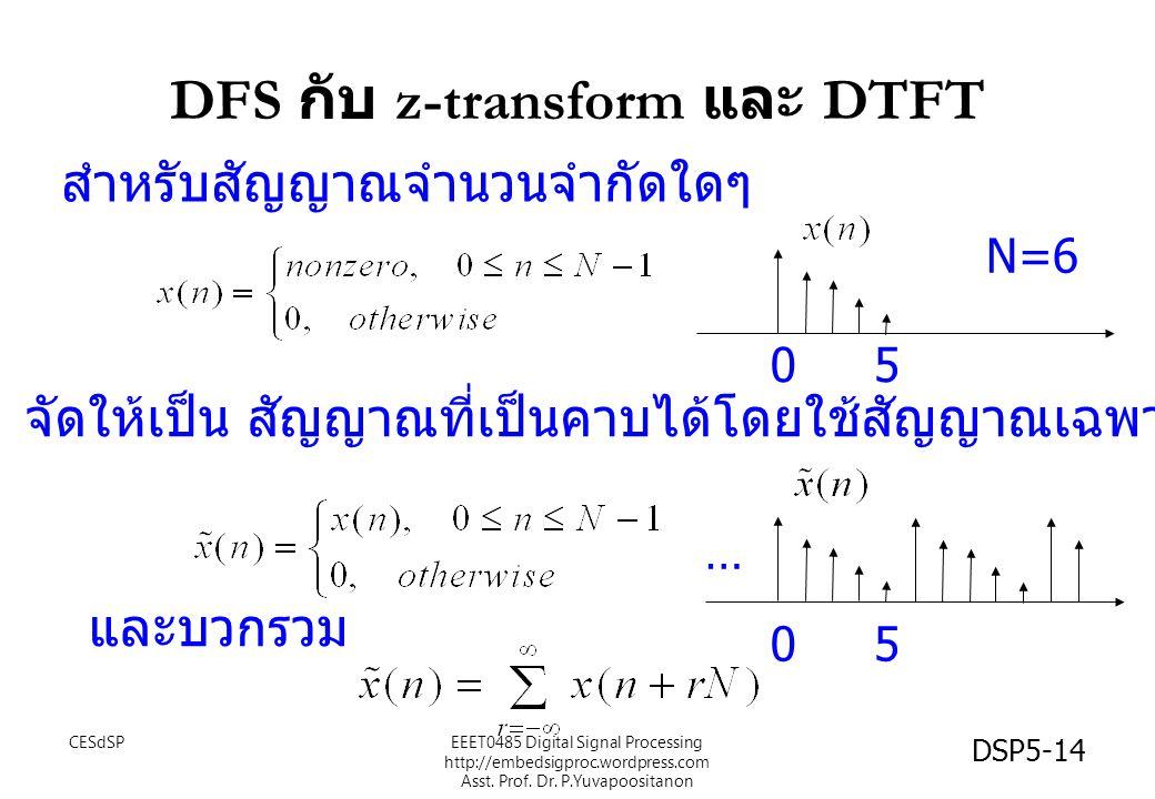 DSP5-14 DFS กับ z-transform และ DTFT สำหรับสัญญาณจำนวนจำกัดใดๆ จัดให้เป็น สัญญาณที่เป็นคาบได้โดยใช้สัญญาณเฉพาะ n = 0 ถึง N-1 05 N=6 05 และบวกรวม … CESdSPEEET0485 Digital Signal Processing http://embedsigproc.wordpress.com Asst.