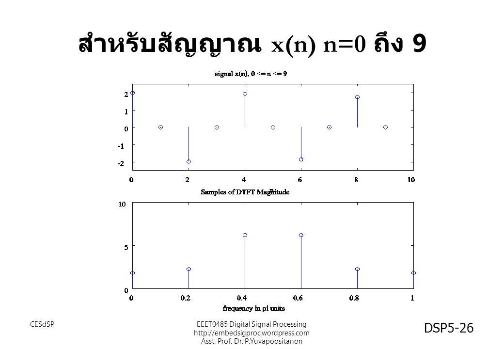 DSP5-26 สำหรับสัญญาณ x(n) n=0 ถึง 9 CESdSPEEET0485 Digital Signal Processing http://embedsigproc.wordpress.com Asst. Prof. Dr. P.Yuvapoositanon
