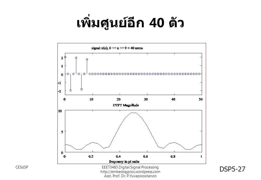 DSP5-27 เพิ่มศูนย์อีก 40 ตัว CESdSPEEET0485 Digital Signal Processing http://embedsigproc.wordpress.com Asst. Prof. Dr. P.Yuvapoositanon