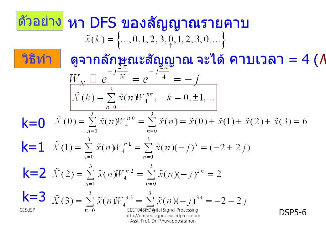 DSP5-6 ตัวอย่าง วิธีทำ หา DFS ของสัญญาณรายคาบ ดูจากลักษณะสัญญาณ จะได้ คาบเวลา = 4 (N=4 ) k=0 k=1 k=2 k=3 CESdSPEEET0485 Digital Signal Processing http