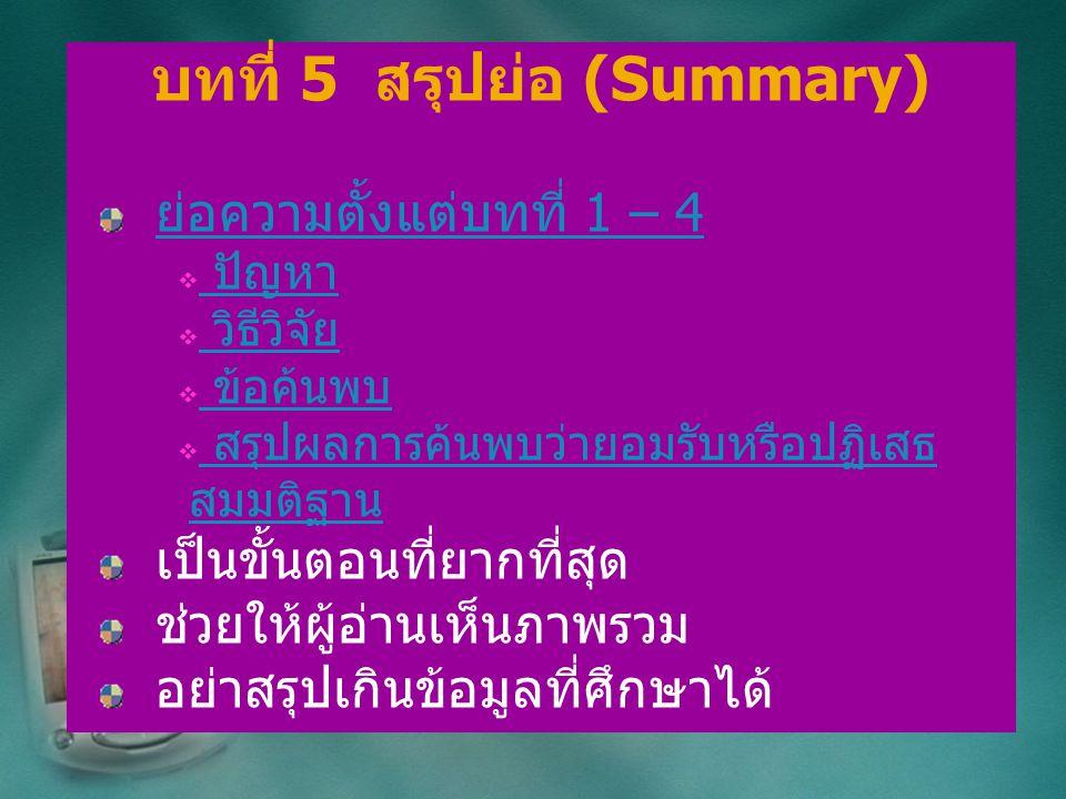 บทที่ 5 สรุปย่อ (Summary) ย่อความตั้งแต่บทที่ 1 – 4  ปัญหา ปัญหา  วิธีวิจัย วิธีวิจัย  ข้อค้นพบ ข้อค้นพบ  สรุปผลการค้นพบว่ายอมรับหรือปฏิเสธ สมมติฐ