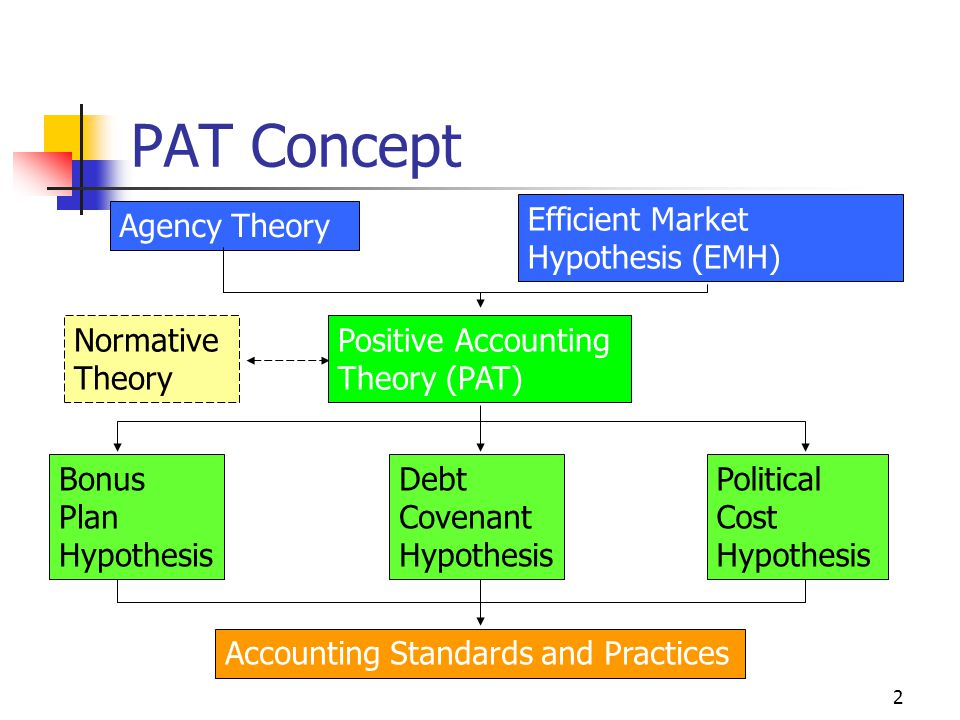 2 PAT Concept Agency Theory Efficient Market Hypothesis (EMH) Positive Accounting Theory (PAT) Bonus Plan Hypothesis Political Cost Hypothesis Debt Co