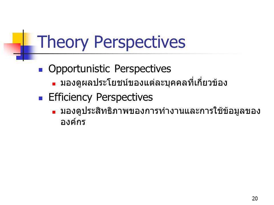 20 Theory Perspectives Opportunistic Perspectives มองดูผลประโยชน์ของแต่ละบุคคลที่เกี่ยวข้อง Efficiency Perspectives มองดูประสิทธิภาพของการทำงานและการใช้ข้อมูลของ องค์กร