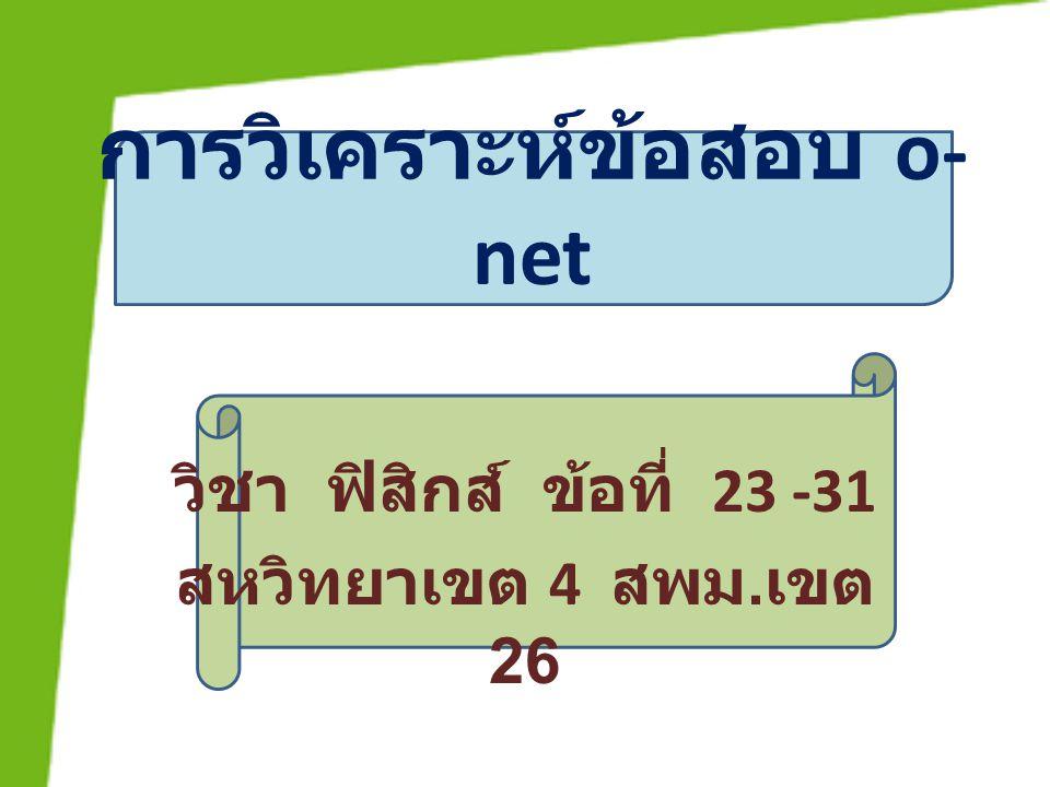การวิเคราะห์ข้อสอบ o- net วิชา ฟิสิกส์ ข้อที่ 23 -31 สหวิทยาเขต 4 สพม. เขต 26