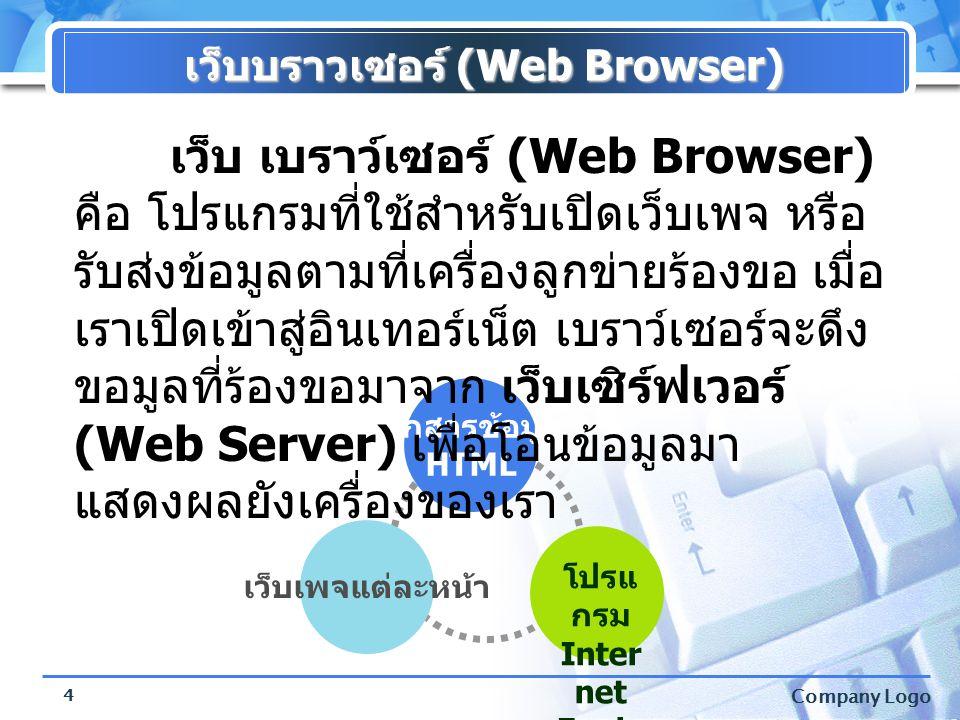 Company Logo 4 เว็บบราวเซอร์ (Web Browser) เอกสารข้อมูล HTML เว็บเพจแต่ละหน้า โปรแ กรม Inter net Explo rer เว็บ เบราว์เซอร์ (Web Browser) คือ โปรแกรมท