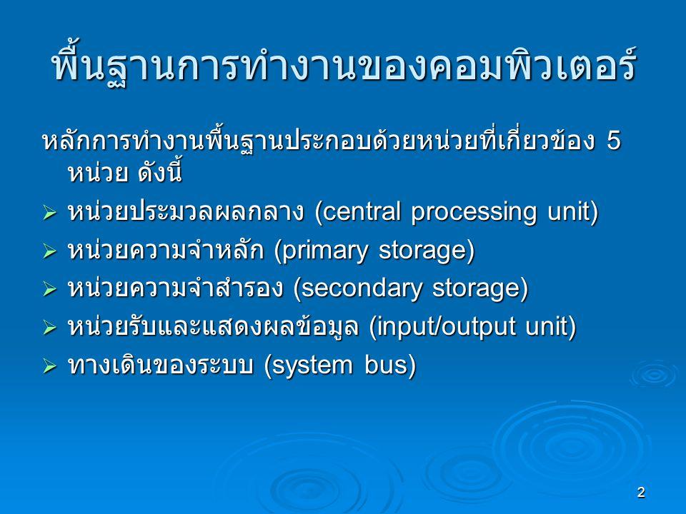 2 พื้นฐานการทำงานของคอมพิวเตอร์ หลักการทำงานพื้นฐานประกอบด้วยหน่วยที่เกี่ยวข้อง 5 หน่วย ดังนี้  หน่วยประมวลผลกลาง (central processing unit)  หน่วยความจำหลัก (primary storage)  หน่วยความจำสำรอง (secondary storage)  หน่วยรับและแสดงผลข้อมูล (input/output unit)  ทางเดินของระบบ (system bus)