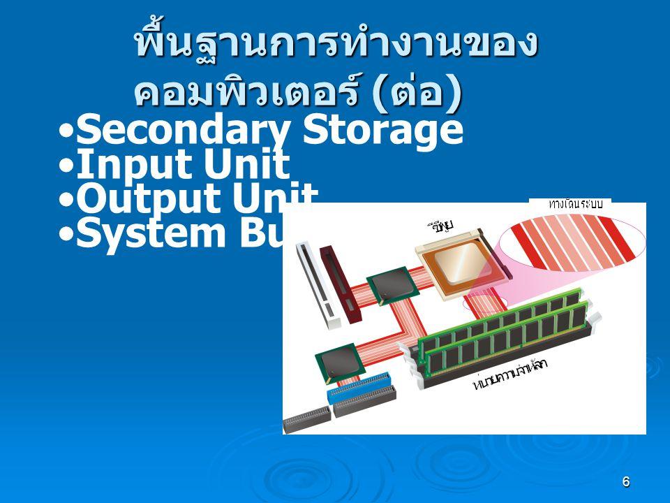 6 พื้นฐานการทำงานของ คอมพิวเตอร์ ( ต่อ ) Secondary Storage Input Unit Output Unit System Bus