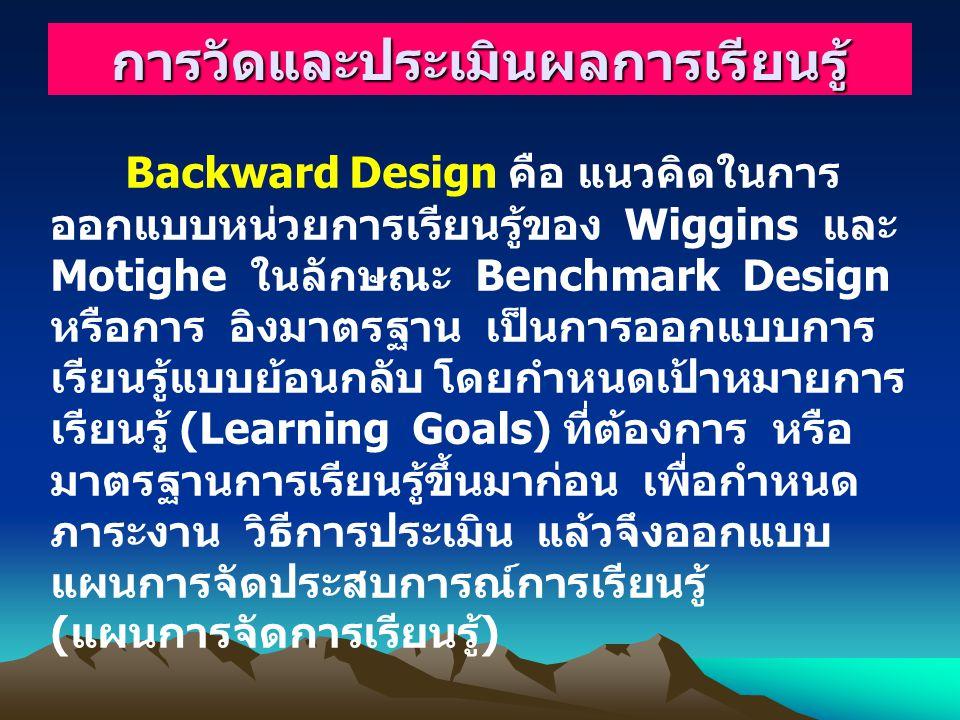 Backward Design คือ แนวคิดในการ ออกแบบหน่วยการเรียนรู้ของ Wiggins และ Motighe ในลักษณะ Benchmark Design หรือการ อิงมาตรฐาน เป็นการออกแบบการ เรียนรู้แบบย้อนกลับ โดยกำหนดเป้าหมายการ เรียนรู้ (Learning Goals) ที่ต้องการ หรือ มาตรฐานการเรียนรู้ขึ้นมาก่อน เพื่อกำหนด ภาระงาน วิธีการประเมิน แล้วจึงออกแบบ แผนการจัดประสบการณ์การเรียนรู้ ( แผนการจัดการเรียนรู้ ) การวัดและประเมินผลการเรียนรู้