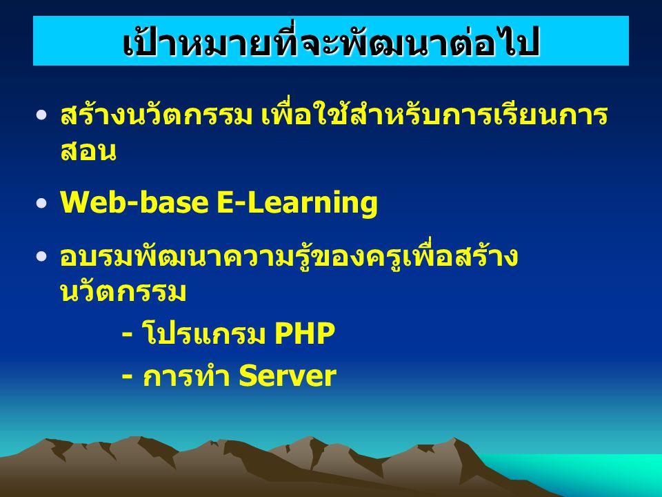 สร้างนวัตกรรม เพื่อใช้สำหรับการเรียนการ สอน Web-base E-Learning อบรมพัฒนาความรู้ของครูเพื่อสร้าง นวัตกรรม - โปรแกรม PHP - การทำ Server เป้าหมายที่จะพัฒนาต่อไป