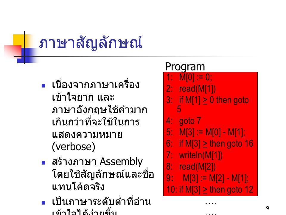 8 ภาษาเครื่อง กำเนิดมาพร้อมกับ คอมพิวเตอร์ เป็นภาษาที่เครื่องเข้าใจ ได้ โดยตรง เป็นที่มาของคำว่า code ซึ่งปัจจุบันหมายถึง ข้อความที่ประกอบขึ้นเป็น โปรแกรมในภาษาใด ๆ (program text) เป็นภาษาระดับต่ำ มนุษย์ทำความเข้าใจได้ ยาก ทำงานเร็ว ตัวอย่างบางส่วนของโค้ด 00000010101111001010 00000010111111001000 00000011001110101000 บวกเลขในตำแหน่งที่ 10 กับเลขในตำแหน่งที่ 11 แล้วเก็บผลลัพธ์ไว้ใน ตำแหน่งที่ 12