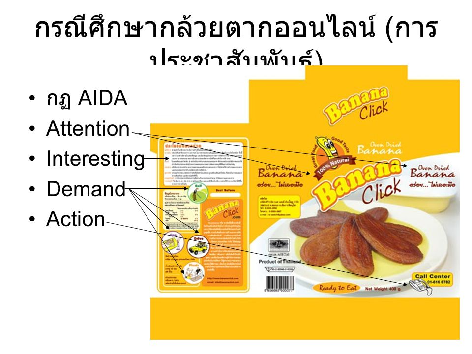 กรณีศึกษากล้วยตากออนไลน์ ( การ ประชาสัมพันธ์ ) กฏ AIDA Attention Interesting Demand Action