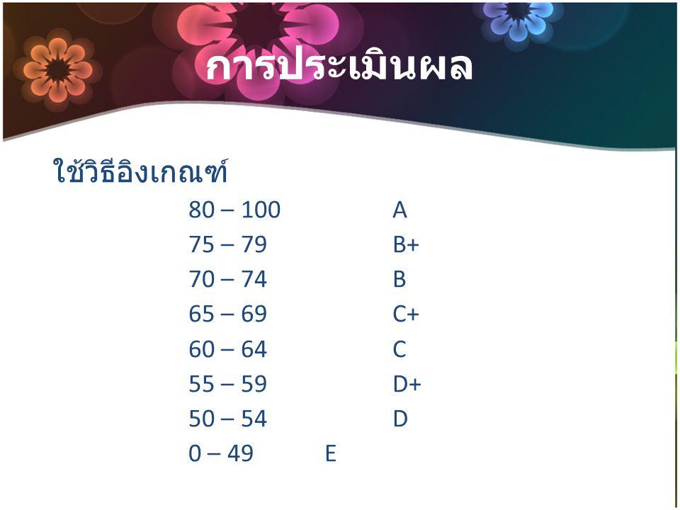 การประเมินผล ใช้วิธีอิงเกณฑ์ 80 – 100A 75 – 79B+ 70 – 74B 65 – 69C+ 60 – 64C 55 – 59D+ 50 – 54D 0 – 49E