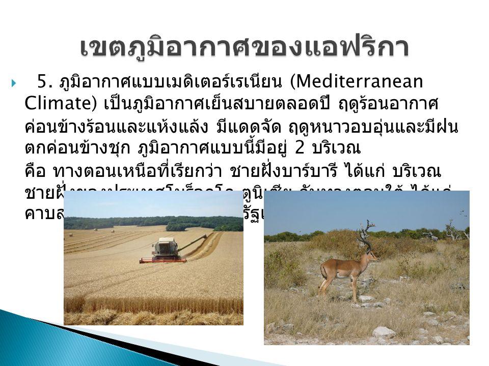  5. ภูมิอากาศแบบเมดิเตอร์เรเนียน (Mediterranean Climate) เป็นภูมิอากาศเย็นสบายตลอดปี ฤดูร้อนอากาศ ค่อนข้างร้อนและแห้งแล้ง มีแดดจัด ฤดูหนาวอบอุ่นและมี