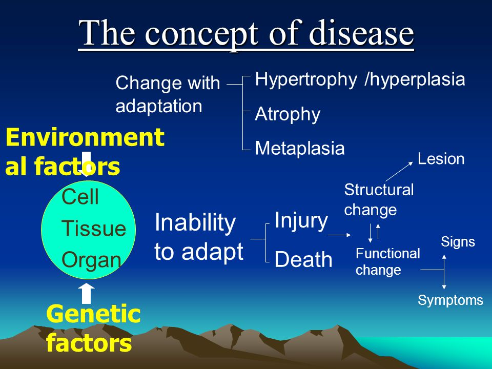 The concept of disease Cell Tissue Organ Environment al factors Genetic factors Change with adaptation Hypertrophy /hyperplasia Atrophy Metaplasia Ina