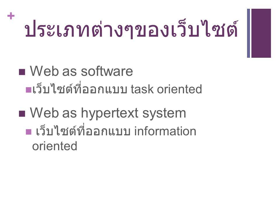 + ประเภทต่างๆของเว็บไซต์ Web as software เว็บไซต์ที่ออกแบบ task oriented Web as hypertext system เว็บไซต์ที่ออกแบบ information oriented