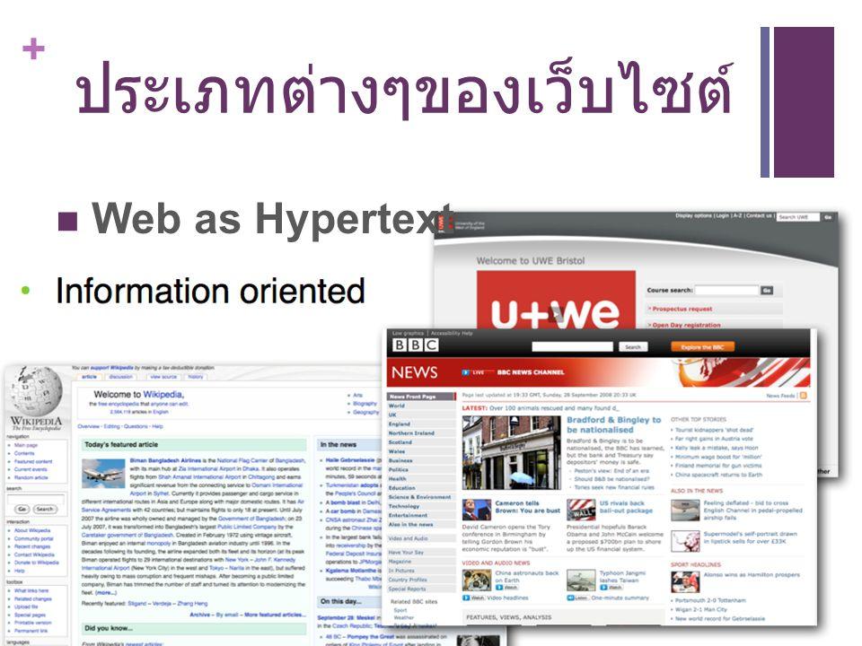 + ประเภทต่างๆของเว็บไซต์ Web as Hypertext