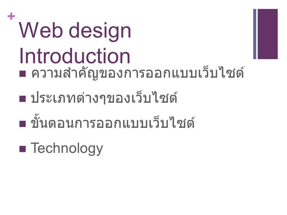 + Web design Introduction ความสำคัญของการออกแบบเว็บไซต์ ประเภทต่างๆของเว็บไซต์ ขั้นตอนการออกแบบเว็บไซต์ Technology
