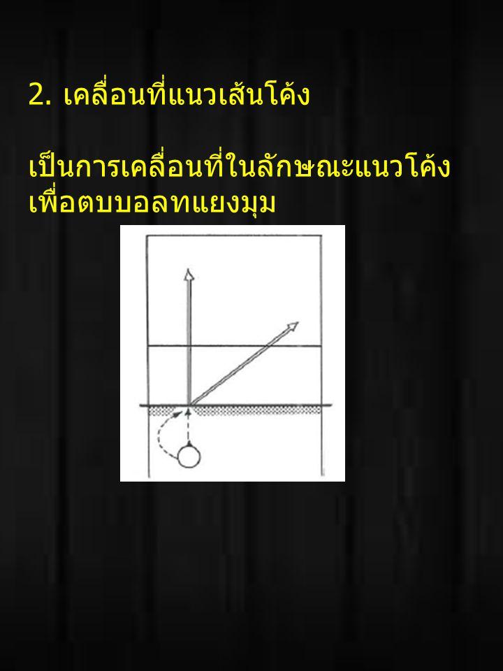 2. เคลื่อนที่แนวเส้นโค้ง เป็นการเคลื่อนที่ในลักษณะแนวโค้ง เพื่อตบบอลทแยงมุม