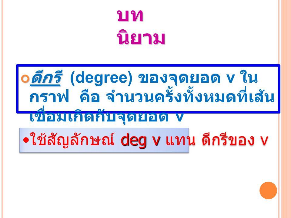 บท นิยาม ดีกรี (degree) ของจุดยอด v ใน กราฟ คือ จำนวนครั้งทั้งหมดที่เส้น เชื่อมเกิดกับจุดยอด v deg v ใช้สัญลักษณ์ deg v แทน ดีกรีของ v ใช้สัญลักษณ์ d dd deg v แทน ดีกรีของ v