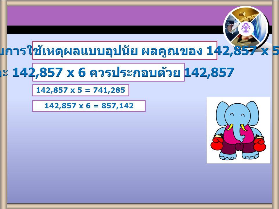 Practice 2.1 142,857 x 1 = 142,857 142,857 x 2 = 285,714 142,857 x 3 = 428,571 142,857 x 4 = 571,428 1. จากการสังเกตจำนวนที่เป็นผลคูณพบว่าผลการคูณ ที่