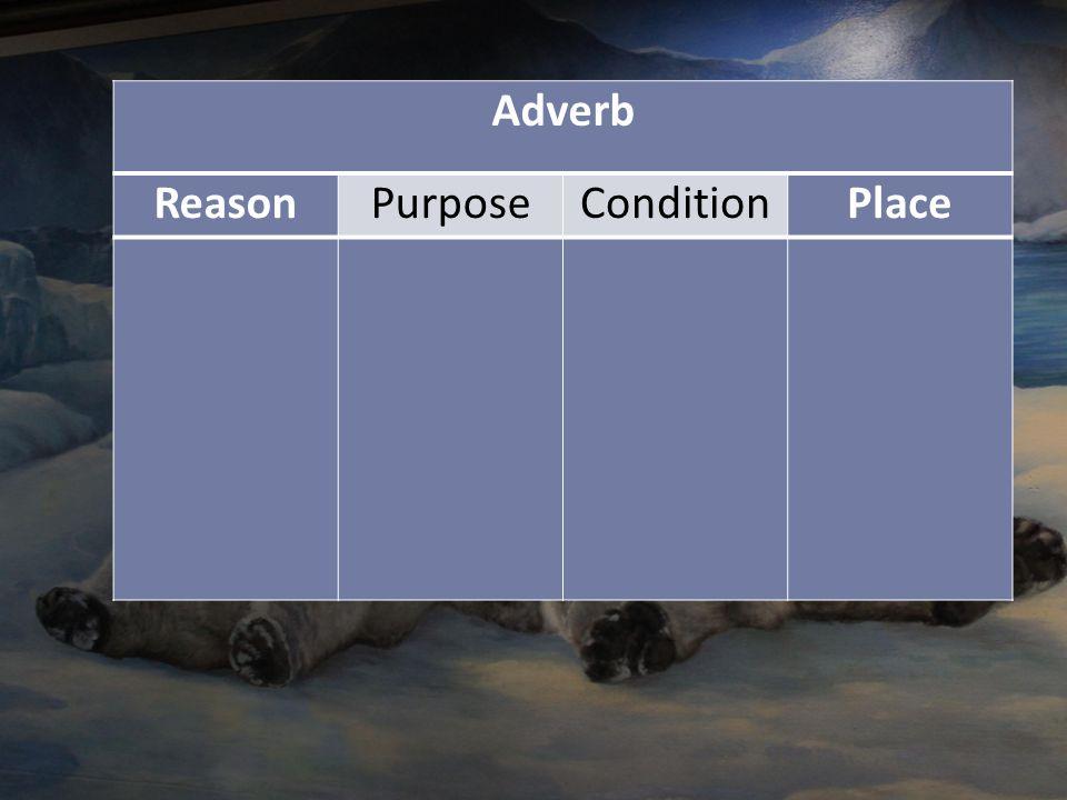 Adverb ReasonPurposeConditionPlace