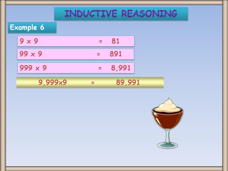 Example 6 9 x 9 = 81 99 x 9 = 891 999 x 9 = 8,991 9,999x9 = 89,991