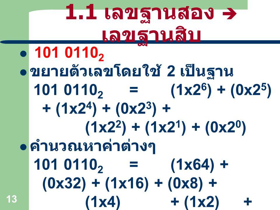 13 1.1 เลขฐานสอง  เลขฐานสิบ 101 0110 2 ขยายตัวเลขโดยใช้ 2 เป็นฐาน 101 0110 2 =(1x2 6 ) + (0x2 5 ) + (1x2 4 ) + (0x2 3 ) + (1x2 2 ) + (1x2 1 ) + (0x2