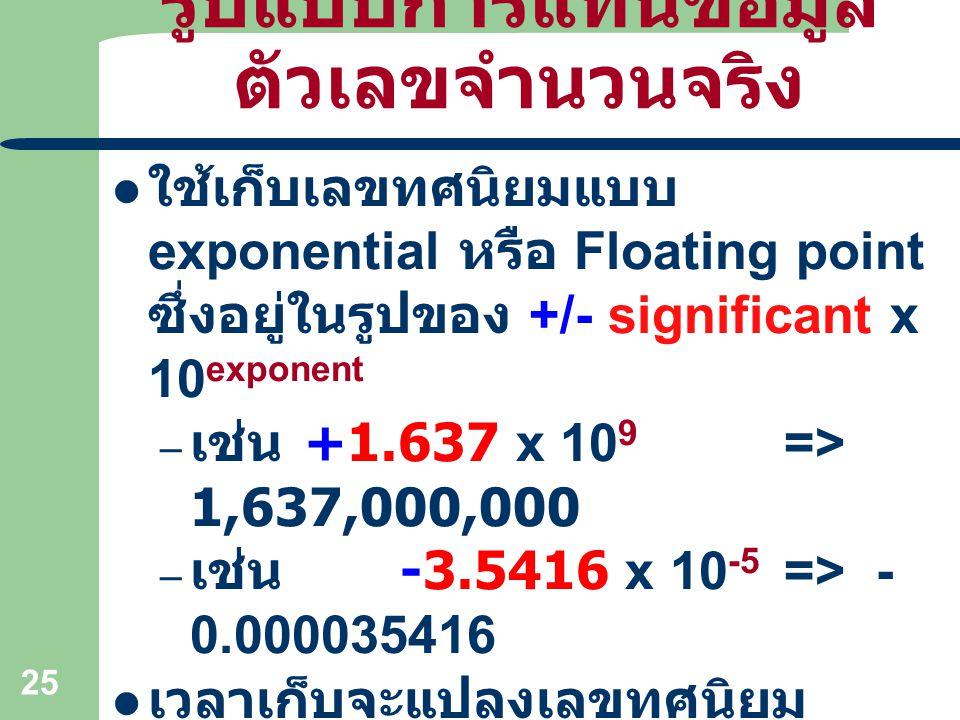 25 รูปแบบการแทนข้อมูล ตัวเลขจำนวนจริง ใช้เก็บเลขทศนิยมแบบ exponential หรือ Floating point ซึ่งอยู่ในรูปของ +/- significant x 10 exponent – เช่น +1.637