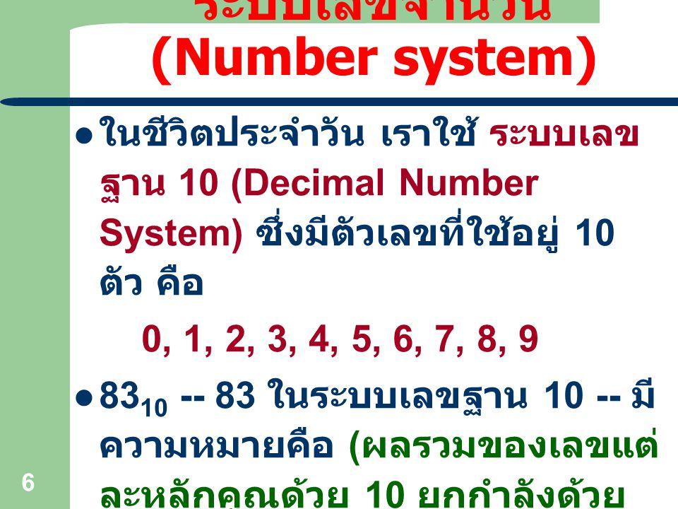 6 ระบบเลขจำนวน (Number system) ในชีวิตประจำวัน เราใช้ ระบบเลข ฐาน 10 (Decimal Number System) ซึ่งมีตัวเลขที่ใช้อยู่ 10 ตัว คือ 0, 1, 2, 3, 4, 5, 6, 7,