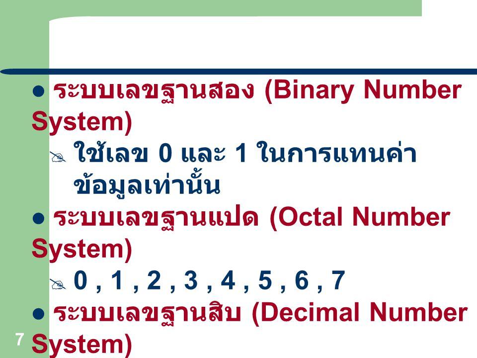 7 ระบบเลขฐานสอง (Binary Number System)  ใช้เลข 0 และ 1 ในการแทนค่า ข้อมูลเท่านั้น ระบบเลขฐานแปด (Octal Number System)  0, 1, 2, 3, 4, 5, 6, 7 ระบบเล