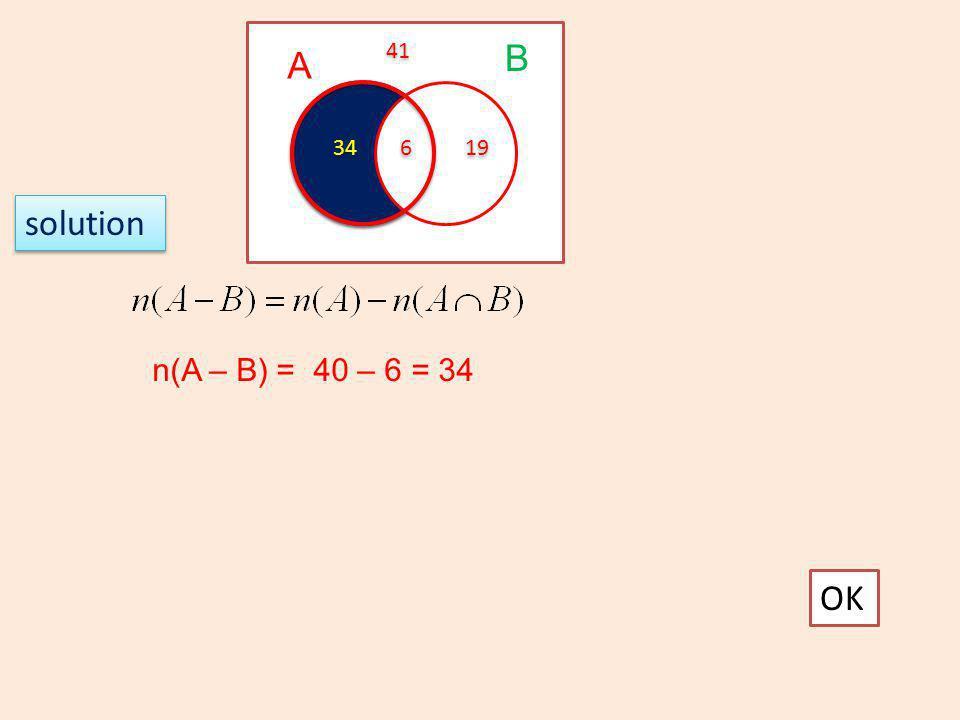 solution OK n(A – B) = 40 – 6 = 34 A B 6 6 34 19 41
