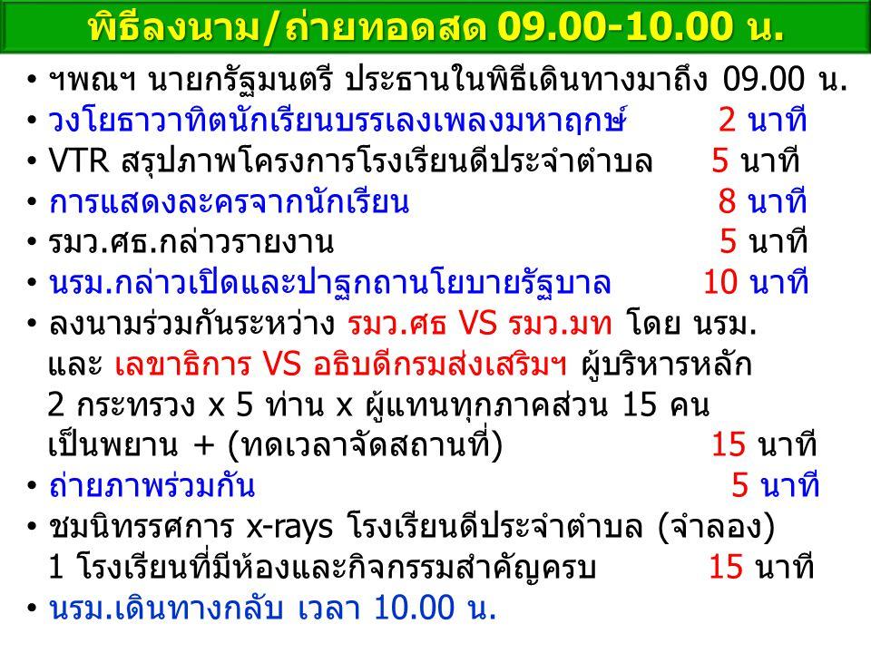พิธีลงนาม/ถ่ายทอดสด 09.00-10.00 น. ฯพณฯ นายกรัฐมนตรี ประธานในพิธีเดินทางมาถึง 09.00 น. วงโยธาวาทิตนักเรียนบรรเลงเพลงมหาฤกษ์ 2 นาที VTR สรุปภาพโครงการโ